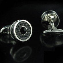Butoni Montegrappa Classic Cufflinks, Steel, Black Leather Black Crystal Insert Butoni Montegrappa